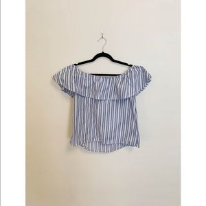 Altr'd State Off The Shoulder Top + Blue and White